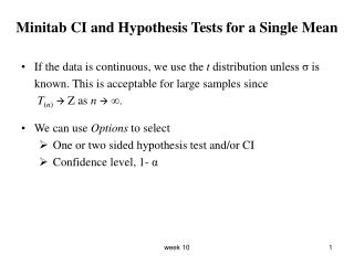 Minitab CI and Hypothesis Tests for a Single Mean