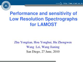 Performance  and sensitivity  of Low Resolution Spectrographs for  LAMOST