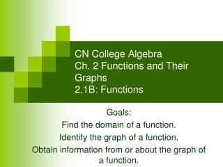 CN College Algebra Ch. 2 Functions and Their Graphs 2.1B: Functions