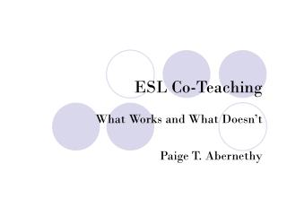 ESL Co-Teaching