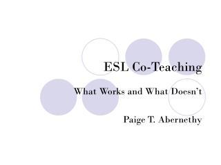 ESL Co-Teaching