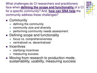 Community defining the community community size and diversity
