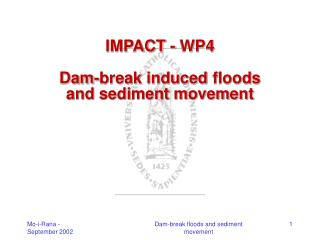 IMPACT - WP4 Dam-break induced floods and sediment movement