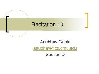 Recitation 10