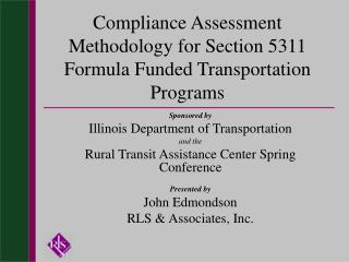 Compliance Assessment Methodology for Section 5311 Formula Funded Transportation Programs