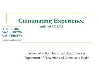 Culminating Experience updated 9/26/13