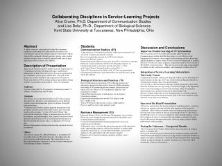 Collaborating Disciplines in Service-Learning Projects