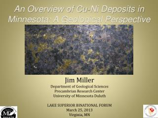 An Overview of Cu-Ni Deposits in Minnesota: A Geological Perspective