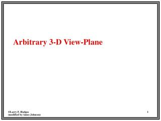 Arbitrary 3-D View-Plane