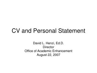 CV and Personal Statement