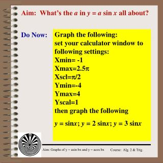 Aim:  What's the  a  in  y  =  a  sin  x  all about?