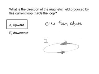 A loop of copper wire is shown. Moving the magnet up: A] causes increasing upward B flux