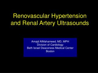 Renovascular Hypertension and Renal Artery Ultrasounds