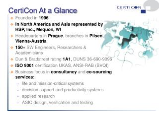 CertiCon At a Glance
