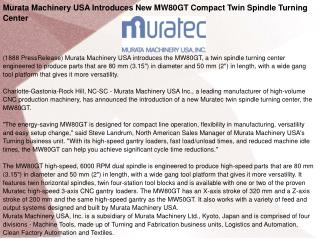 Murata Machinery USA Introduces New MW80GT Compact