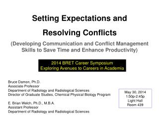 Setting Expectations  and Resolving Conflicts
