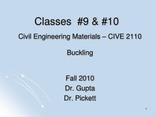 Classes  #9 & #10