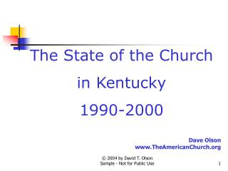 The State of the Church in Kentucky 1990-2000