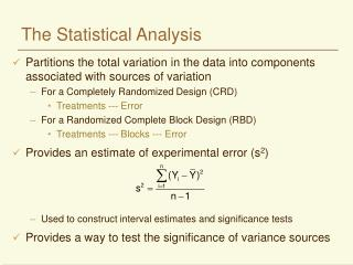 The Statistical Analysis