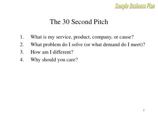 The 30 Second Pitch
