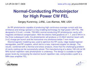 Normal-Conducting Photoinjector  for High Power CW FEL