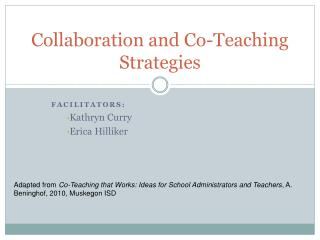 Collaboration and Co-Teaching Strategies