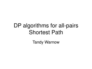 DP algorithms for all-pairs Shortest Path