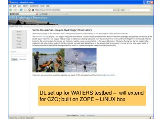 DL set up for WATERS testbed –  will extend for CZO; built on ZOPE – LINUX box
