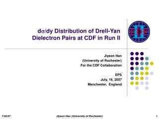 d/dy Distribution of Drell-Yan  Dielectron Pairs at CDF in Run II