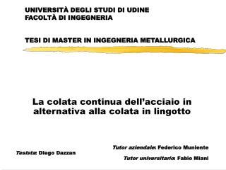 UNIVERSITÀ DEGLI STUDI DI UDINE FACOLTÀ DI INGEGNERIA TESI DI MASTER IN INGEGNERIA METALLURGICA