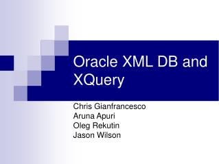 Oracle XML DB and XQuery