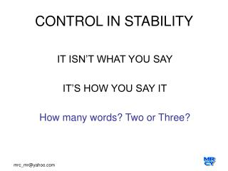 CONTROL IN STABILITY