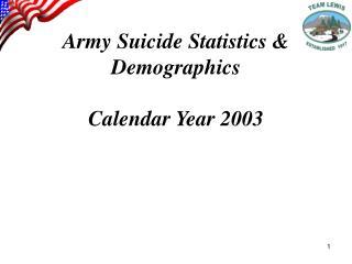 Army Suicide Statistics & Demographics Calendar Year 2003