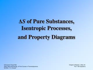 Δ S  of Pure Substances, Isentropic Processes, and Property Diagrams