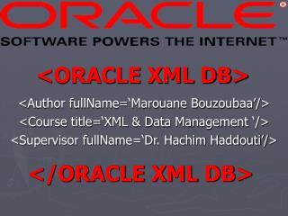 <ORACLE XML DB>
