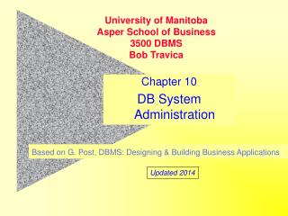 Chapter 10 DB System Administration