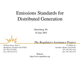 Emissions Standards for Distributed Generation