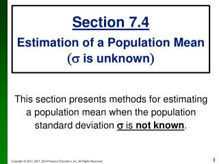Section 7.4 Estimation of a Population Mean (s  is unknown )