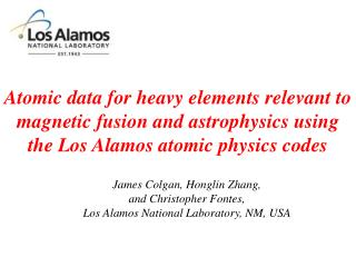 James Colgan, Honglin Zhang,  and Christopher Fontes,  Los Alamos National Laboratory, NM, USA