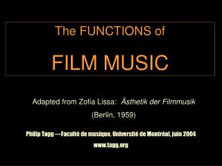 The FUNCTIONS of FILM MUSIC
