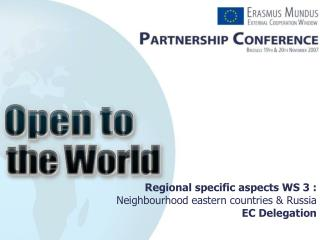 Regional specific aspects WS 3 : Neighbourhood eastern countries & Russia EC Delegation