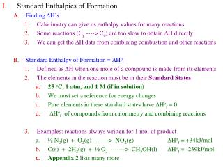 Standard Enthalpies of Formation Finding  D H's