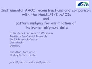 Instrumental AAOI reconstructions and comparison  with the HadSLP1/2 AAOIs and
