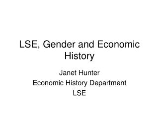 LSE, Gender and Economic History