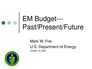 EM Budget---Past/Present/Future