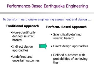 To transform earthquake engineering assessment and design ...