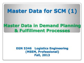 Master Data for SCM (1) Theories & Concepts