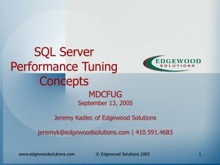 SQL Server Performance Tuning Concepts