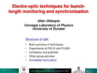Electro-optic techniques for bunch-length monitoring and synchronisation
