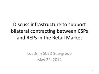 Discuss infrastructure to support bilateral contracting between CSPs and REPs in the Retail Market